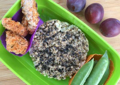 Homemade buttermilk chicken nuggets, tamari seaweed brown rice cake, sugar snap peas, plums