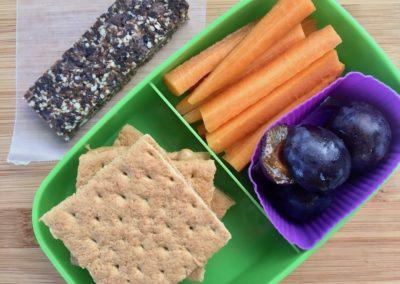 Peanut butter graham cracker sandwiches, carrot sticks, plums, homemade cocoa fig protein bar