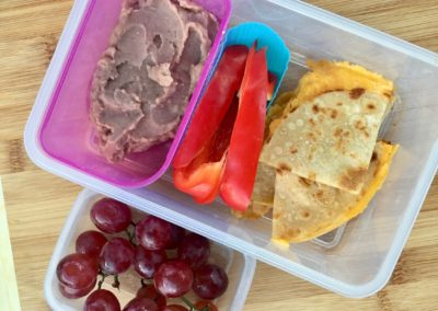 Quesadilla, refried beans, bell pepper, grapes