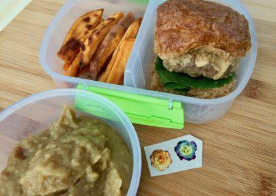 Mushroom beef slider, baked sweet potato fries, applesauce, stickers