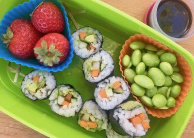 Vegetable nori, edamame, strawberries