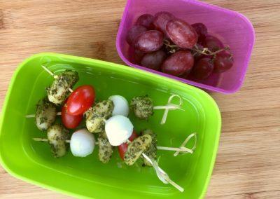 Pesto gnocchi, mini mozzarella, cherry tomatoes, grapes