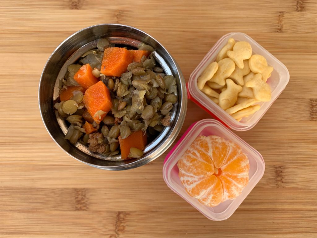 Hot lunch Lentil Stew with Crackers and Clementine