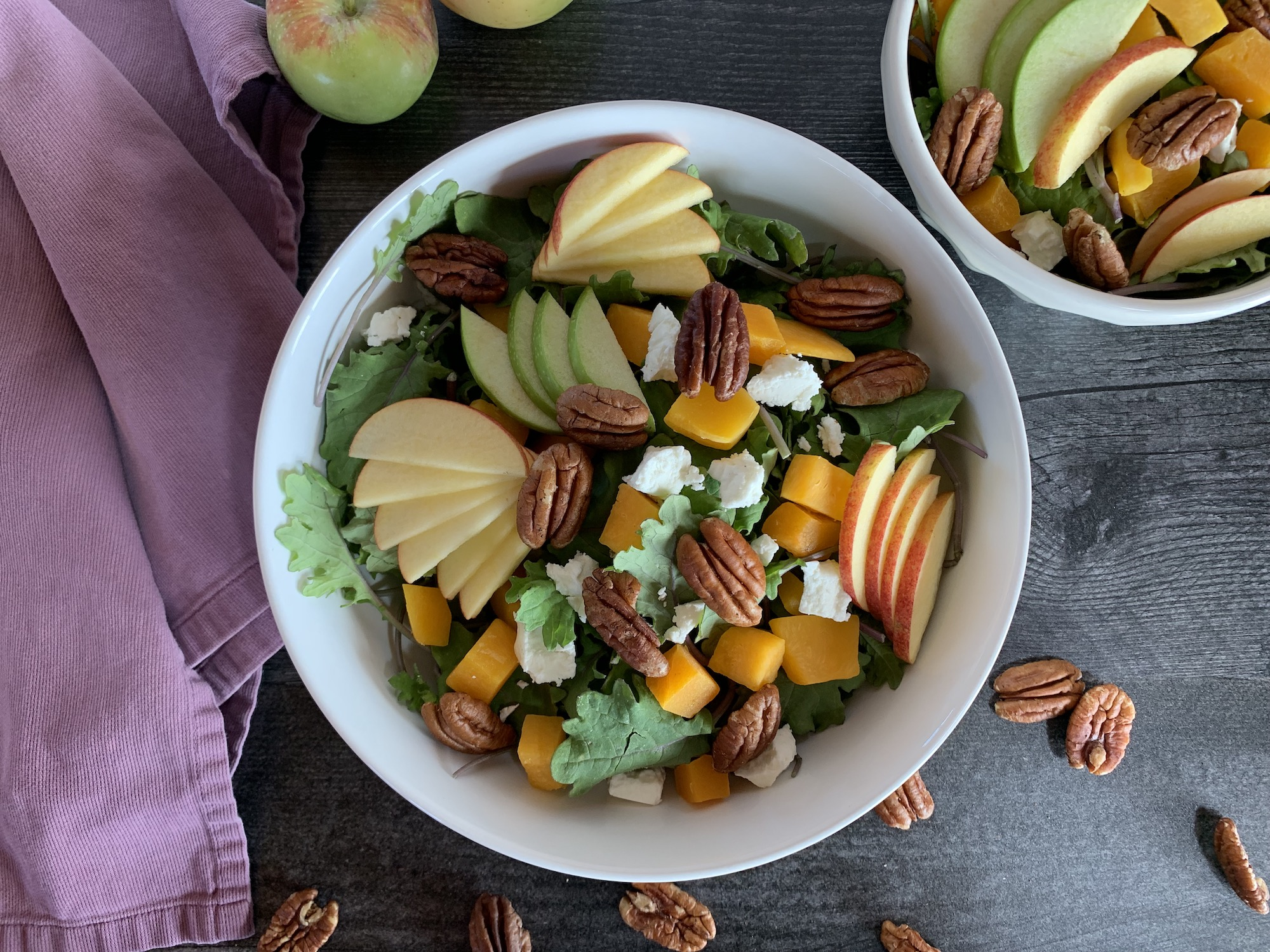 butternut apple kale salad maple apple dressing fall salad autumn salad kid-friendly veggies